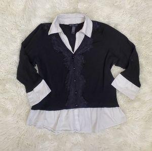 INC Faux Layered Black Cardigan